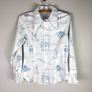 Anne Fontaine Iconic White Collared Shirt Printed